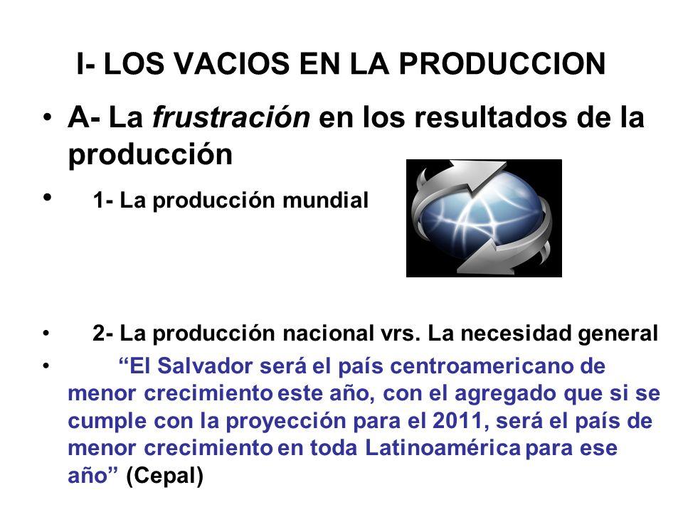 I- LOS VACIOS EN LA PRODUCCION