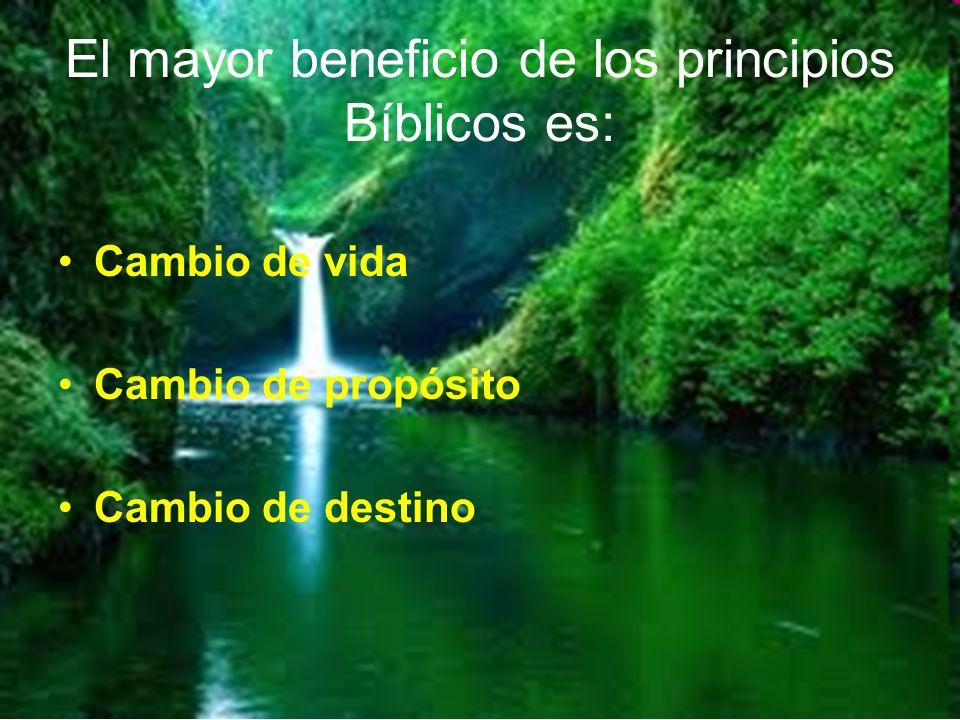 El mayor beneficio de los principios Bíblicos es: