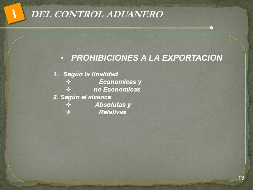 PROHIBICIONES A LA EXPORTACION