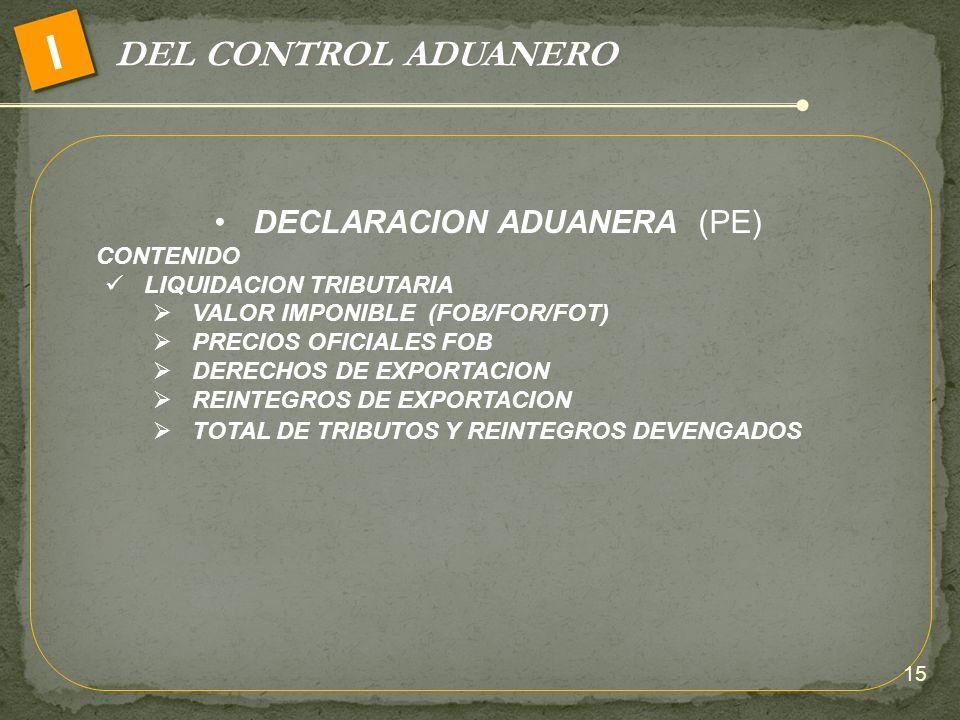 DECLARACION ADUANERA (PE)