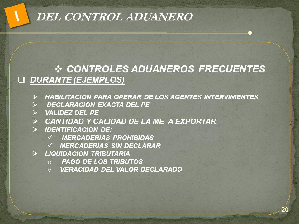 CONTROLES ADUANEROS FRECUENTES