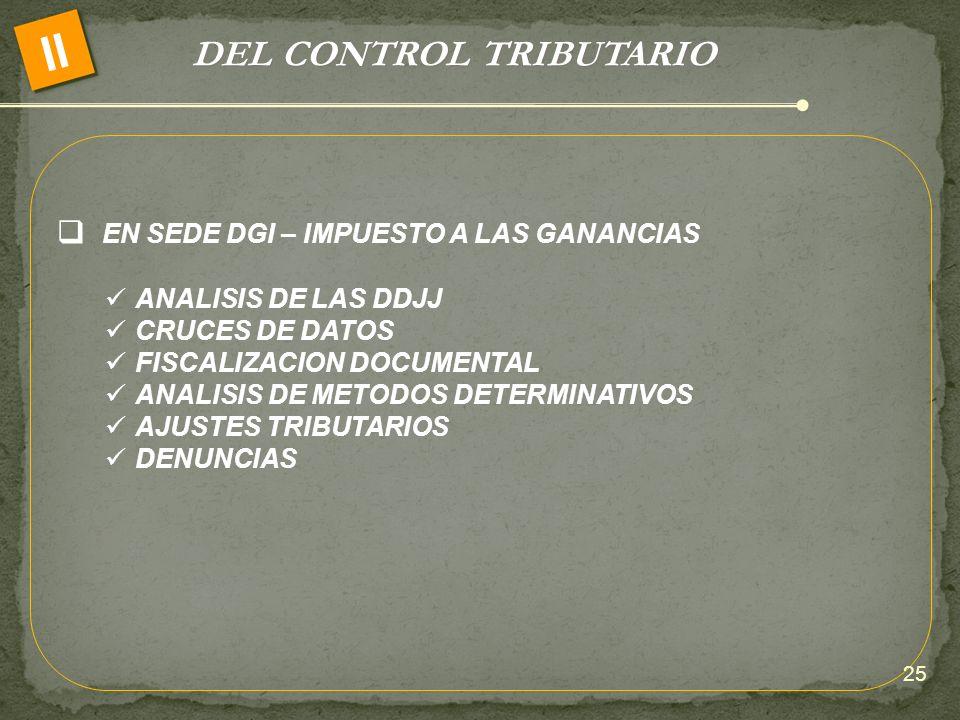 DEL CONTROL TRIBUTARIO