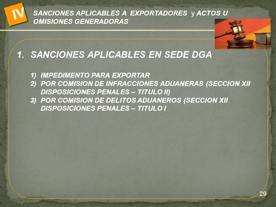 IV SANCIONES APLICABLES EN SEDE DGA