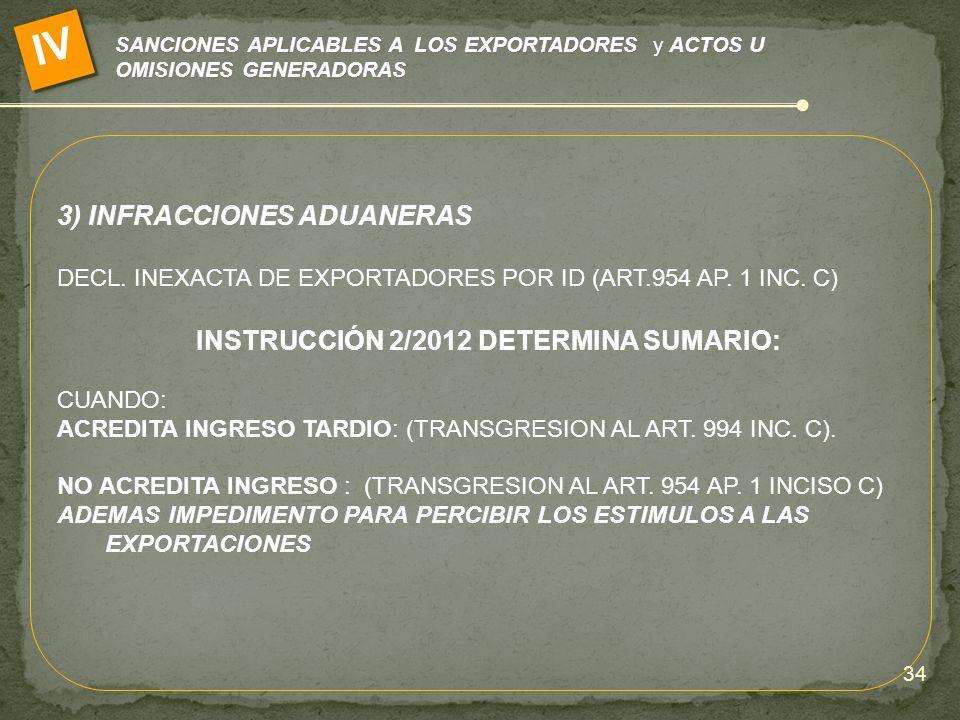 INSTRUCCIÓN 2/2012 DETERMINA SUMARIO: