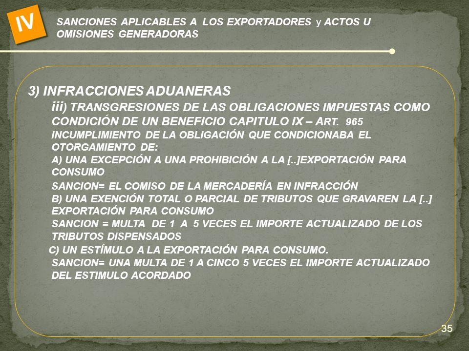 IV 3) INFRACCIONES ADUANERAS