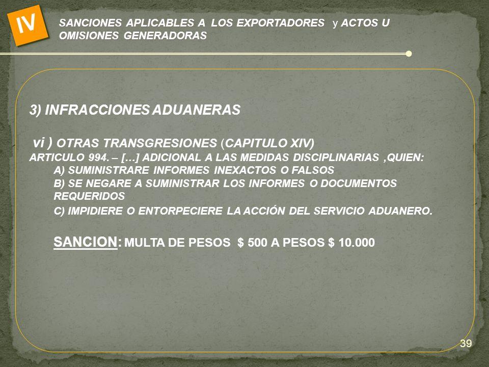 IV 3) INFRACCIONES ADUANERAS vi ) OTRAS TRANSGRESIONES (CAPITULO XIV)