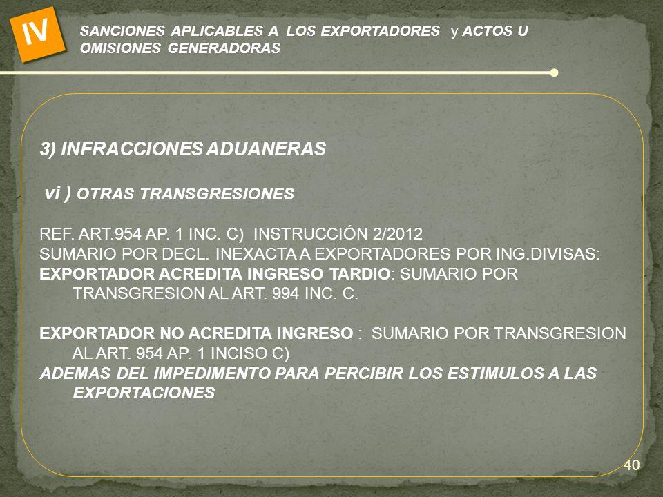 IV 3) INFRACCIONES ADUANERAS vi ) OTRAS TRANSGRESIONES
