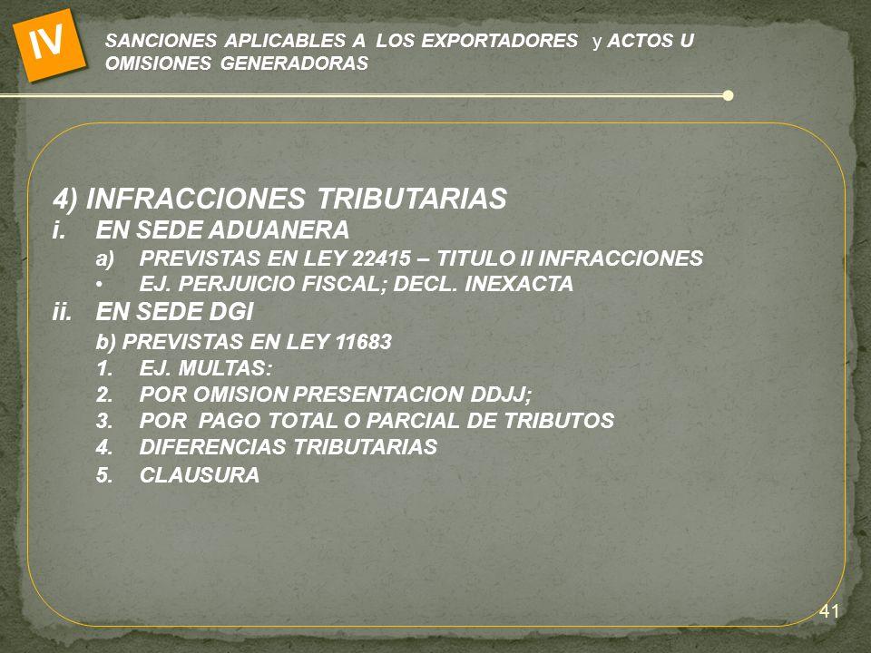 IV 4) INFRACCIONES TRIBUTARIAS EN SEDE ADUANERA EN SEDE DGI