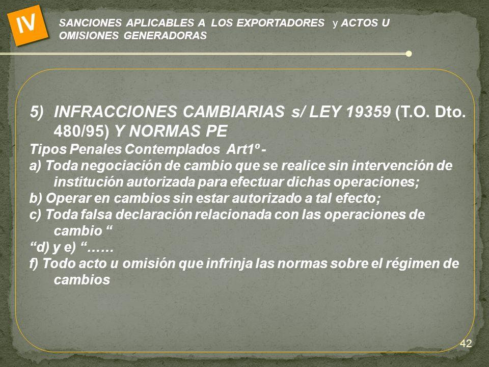 IV INFRACCIONES CAMBIARIAS s/ LEY 19359 (T.O. Dto. 480/95) Y NORMAS PE