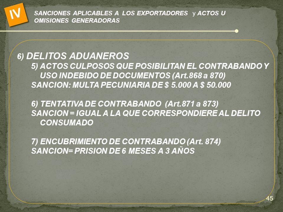 IV SANCIONES APLICABLES A LOS EXPORTADORES y ACTOS U OMISIONES GENERADORAS. 6) DELITOS ADUANEROS.