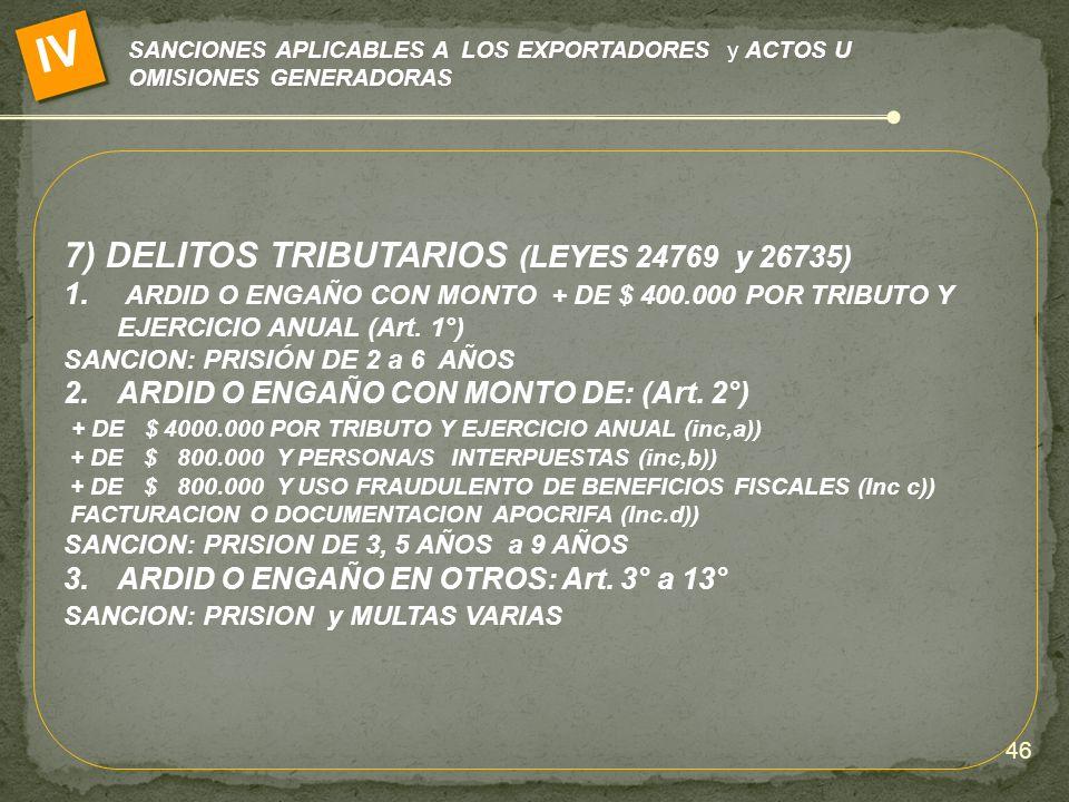 IV 7) DELITOS TRIBUTARIOS (LEYES 24769 y 26735)