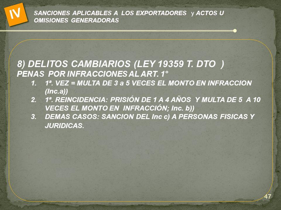 IV 8) DELITOS CAMBIARIOS (LEY 19359 T. DTO )