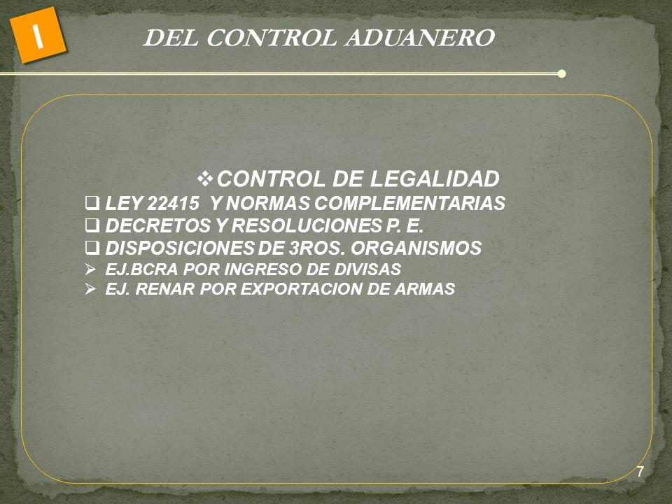 I DEL CONTROL ADUANERO CONTROL DE LEGALIDAD