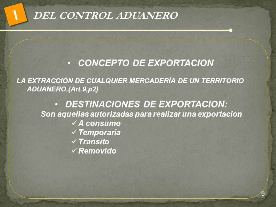 I DEL CONTROL ADUANERO CONCEPTO DE EXPORTACION