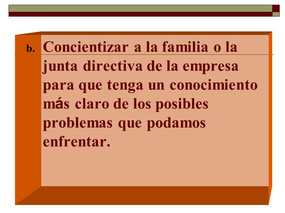 Concientizar a la familia o la junta directiva de la empresa para que tenga un conocimiento más claro de los posibles problemas que podamos enfrentar.