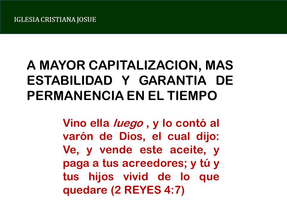 A MAYOR CAPITALIZACION, MAS ESTABILIDAD Y GARANTIA DE PERMANENCIA EN EL TIEMPO