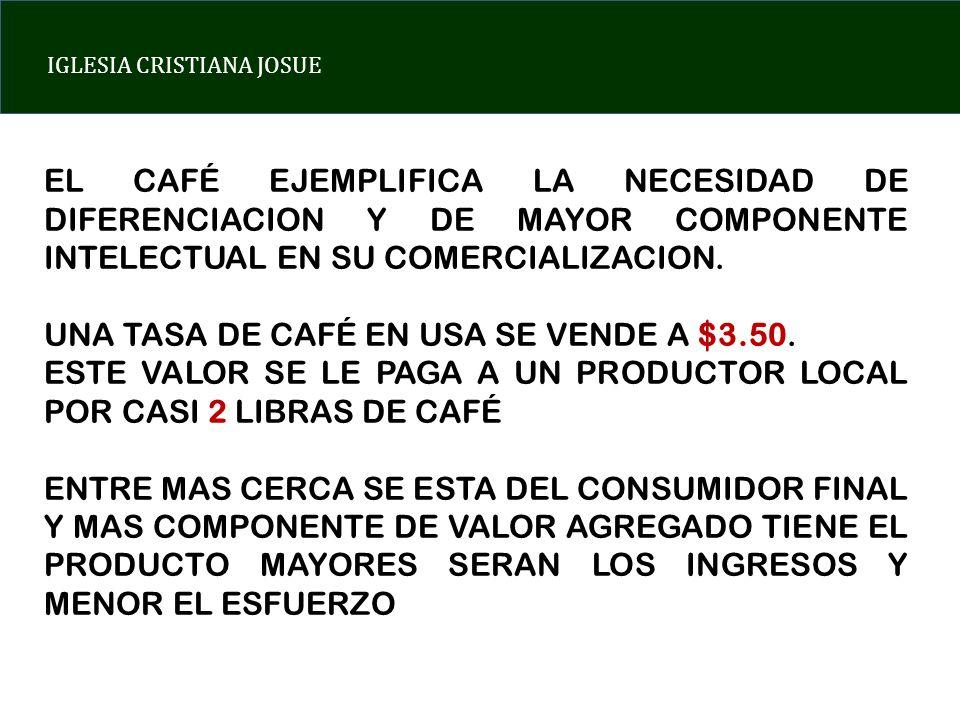 EL CAFÉ EJEMPLIFICA LA NECESIDAD DE DIFERENCIACION Y DE MAYOR COMPONENTE INTELECTUAL EN SU COMERCIALIZACION.