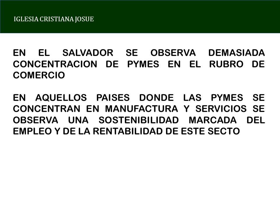 EN EL SALVADOR SE OBSERVA DEMASIADA CONCENTRACION DE PYMES EN EL RUBRO DE COMERCIO