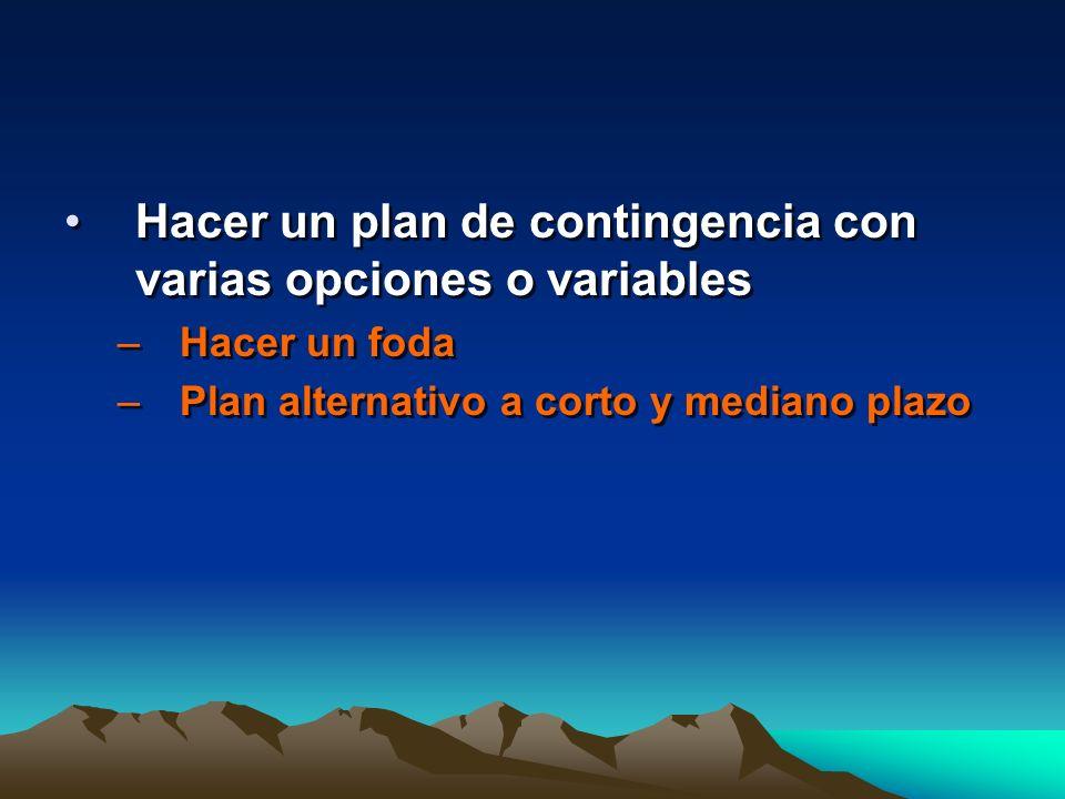 Hacer un plan de contingencia con varias opciones o variables