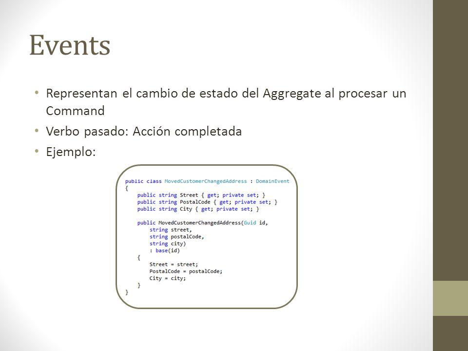 Events Representan el cambio de estado del Aggregate al procesar un Command. Verbo pasado: Acción completada.