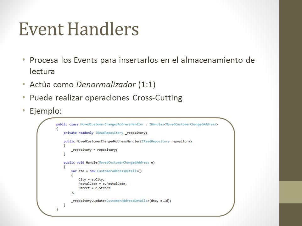 Event Handlers Procesa los Events para insertarlos en el almacenamiento de lectura. Actúa como Denormalizador (1:1)