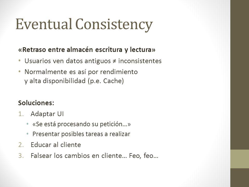 Eventual Consistency «Retraso entre almacén escritura y lectura»