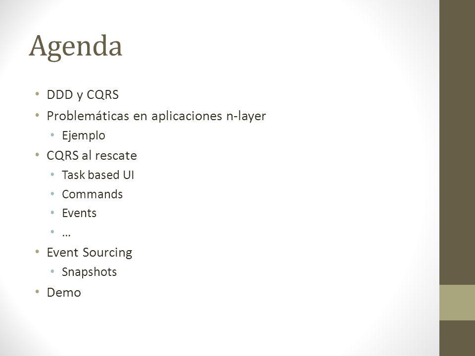Agenda DDD y CQRS Problemáticas en aplicaciones n-layer