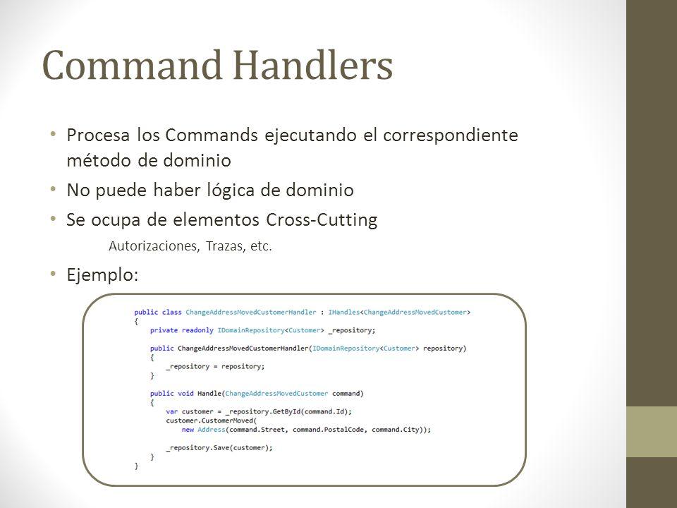 Command Handlers Procesa los Commands ejecutando el correspondiente método de dominio. No puede haber lógica de dominio.