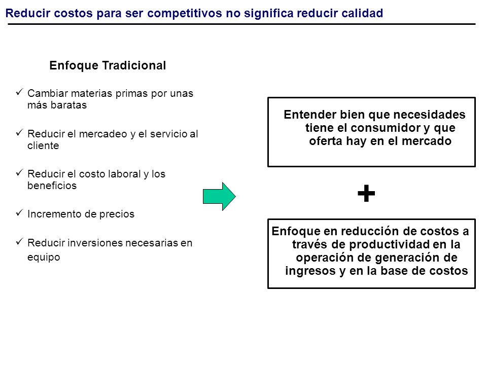 + Reducir costos para ser competitivos no significa reducir calidad