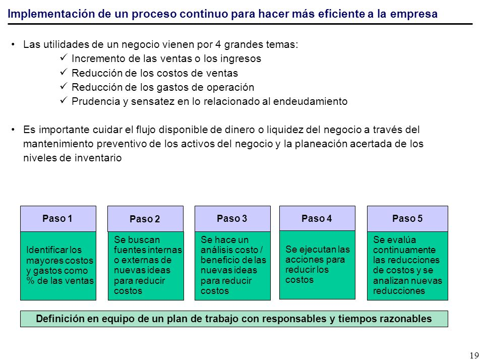 Implementación de un proceso continuo para hacer más eficiente a la empresa