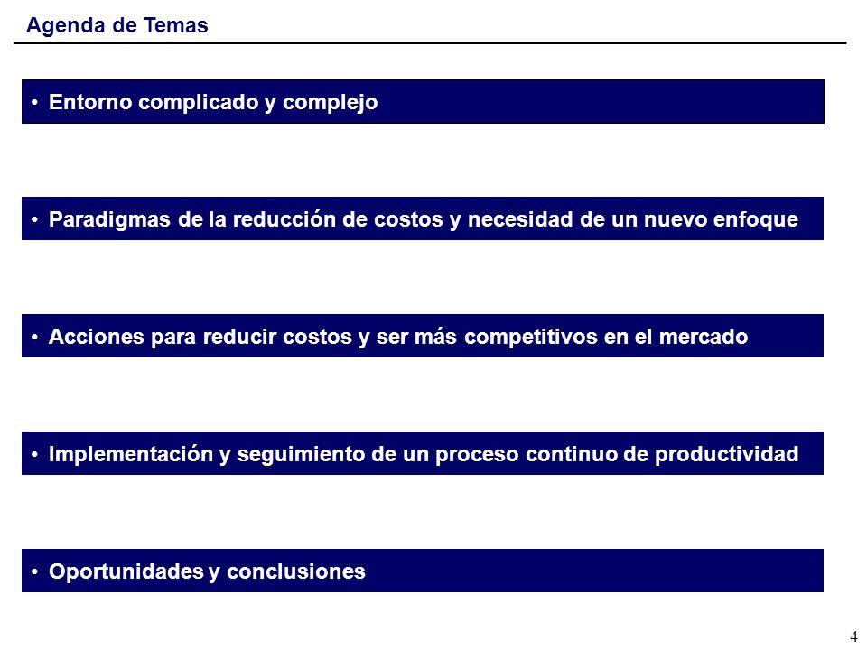 Agenda de Temas Entorno complicado y complejo. Paradigmas de la reducción de costos y necesidad de un nuevo enfoque.