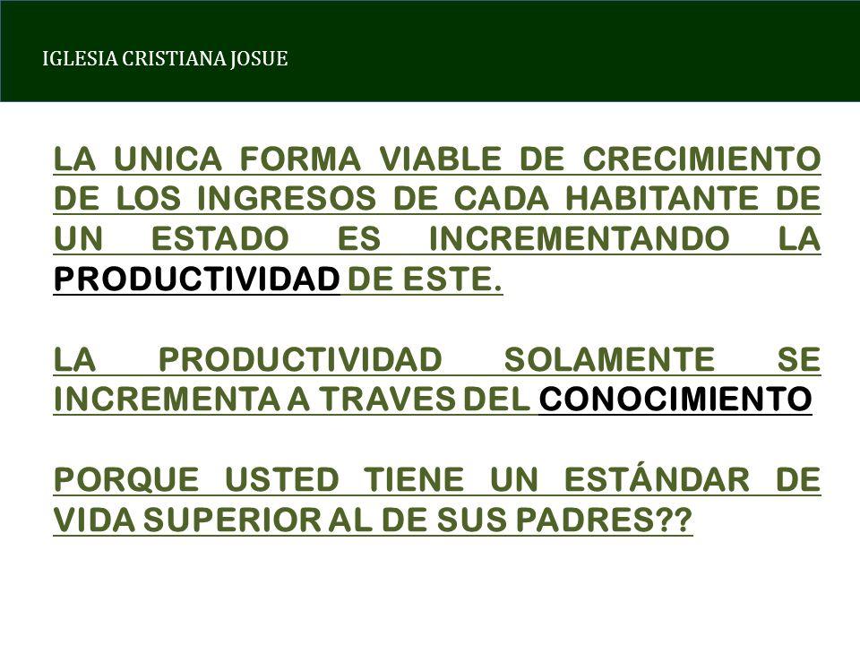 LA UNICA FORMA VIABLE DE CRECIMIENTO DE LOS INGRESOS DE CADA HABITANTE DE UN ESTADO ES INCREMENTANDO LA PRODUCTIVIDAD DE ESTE.