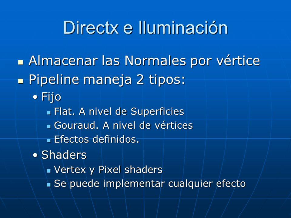 Directx e Iluminación Almacenar las Normales por vértice
