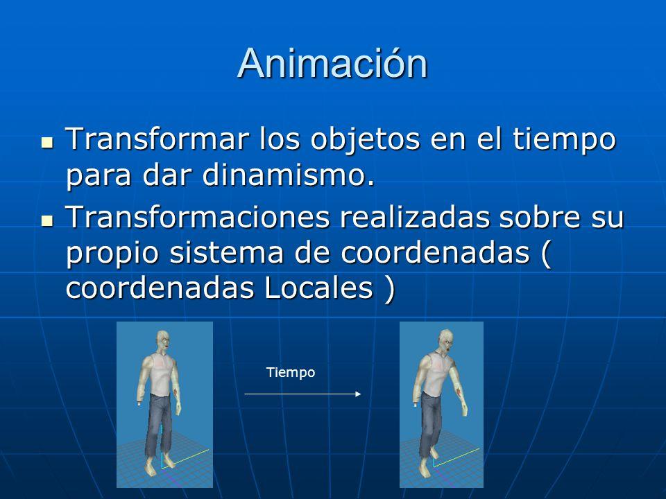 Animación Transformar los objetos en el tiempo para dar dinamismo.