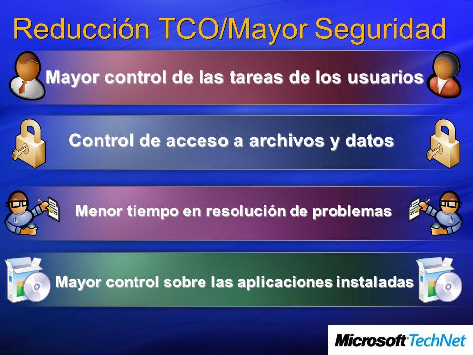 Reducción TCO/Mayor Seguridad