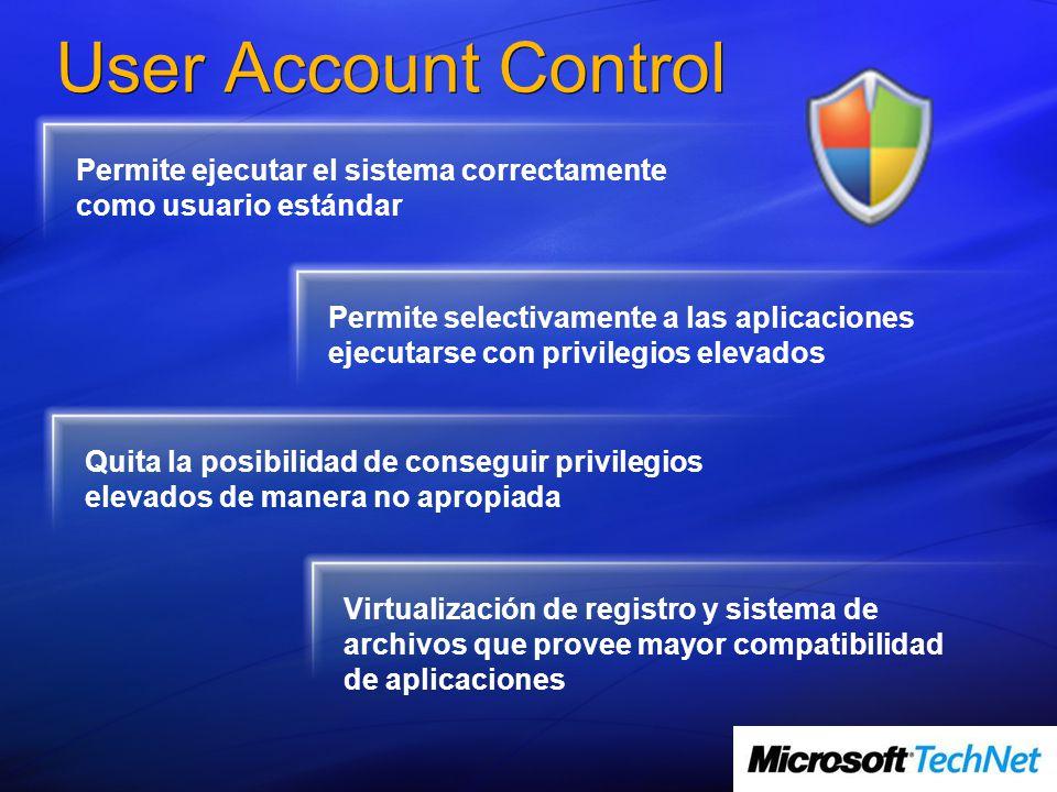 User Account Control Permite ejecutar el sistema correctamente