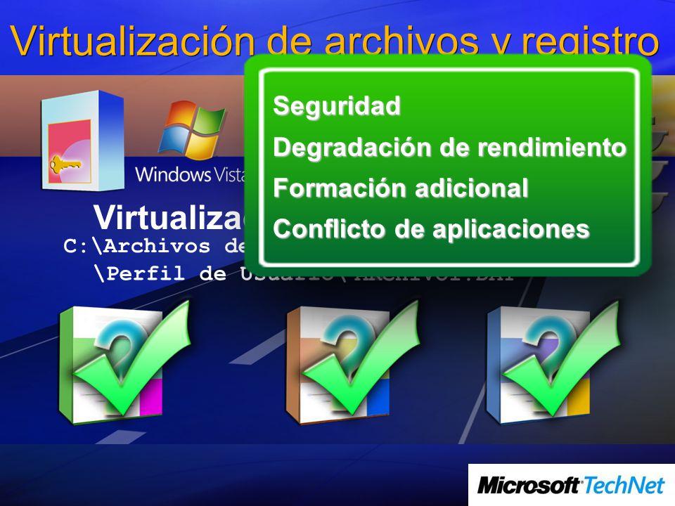 Virtualización de archivos y registro