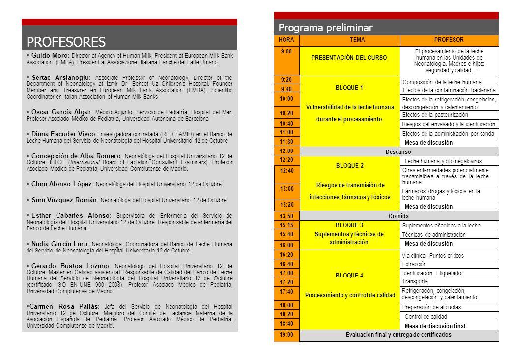 PROFESORES Programa preliminar HORA TEMA PROFESOR 9:00