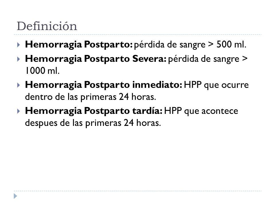 Definición Hemorragia Postparto: pérdida de sangre > 500 ml.