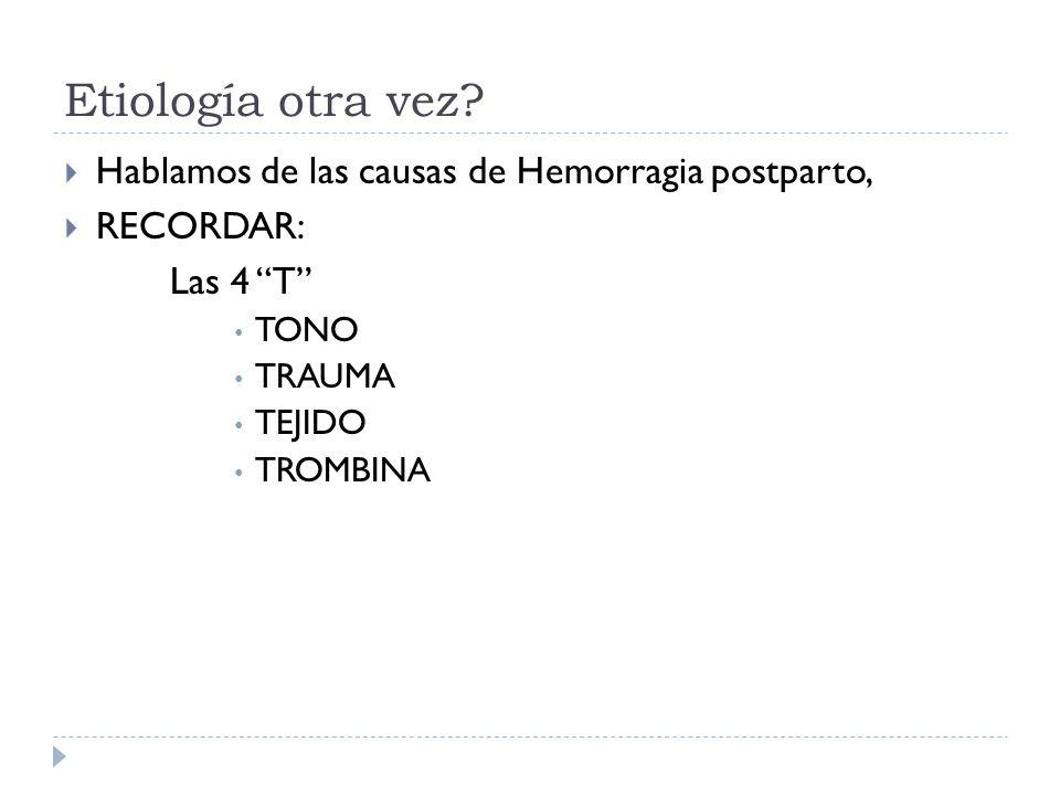 Etiología otra vez Hablamos de las causas de Hemorragia postparto,