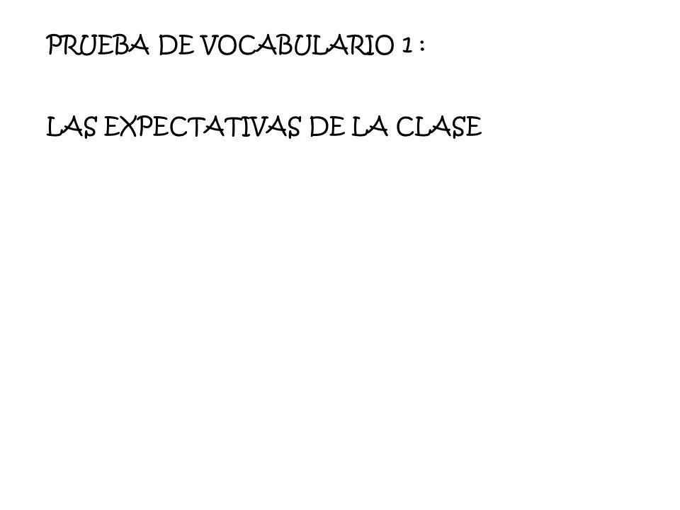PRUEBA DE VOCABULARIO 1 :