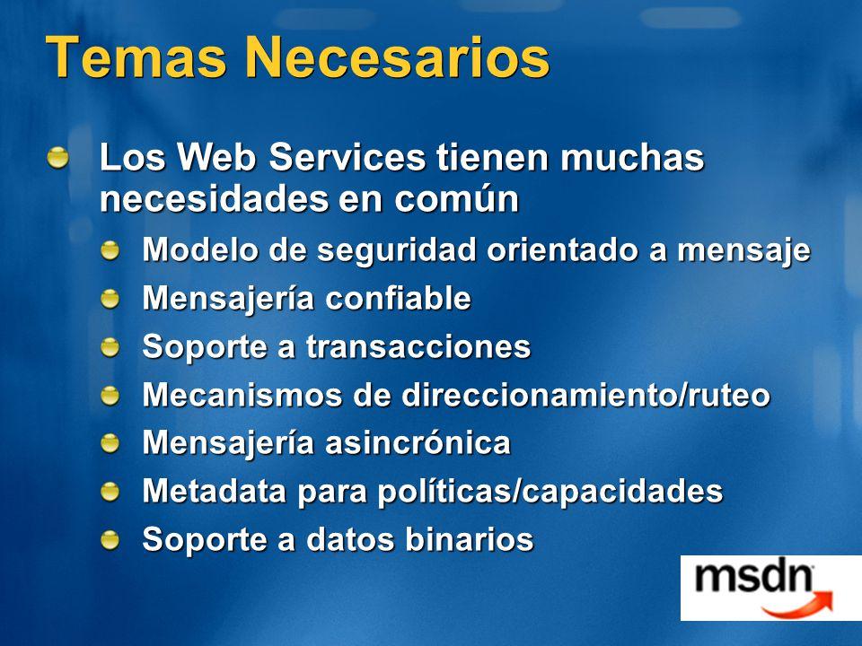 Temas Necesarios Los Web Services tienen muchas necesidades en común
