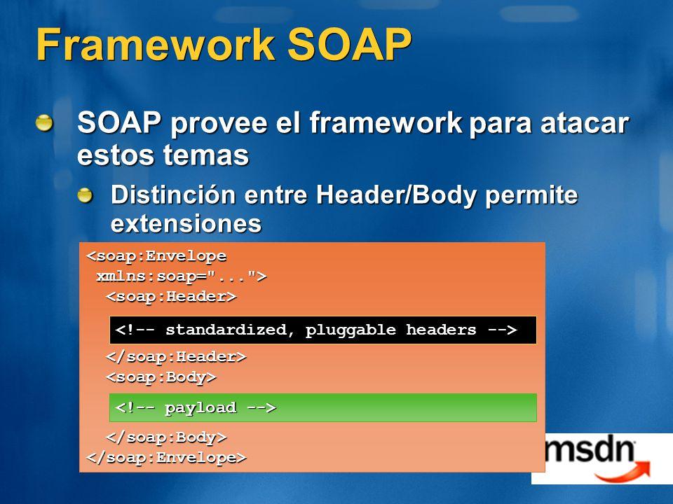 Framework SOAP SOAP provee el framework para atacar estos temas