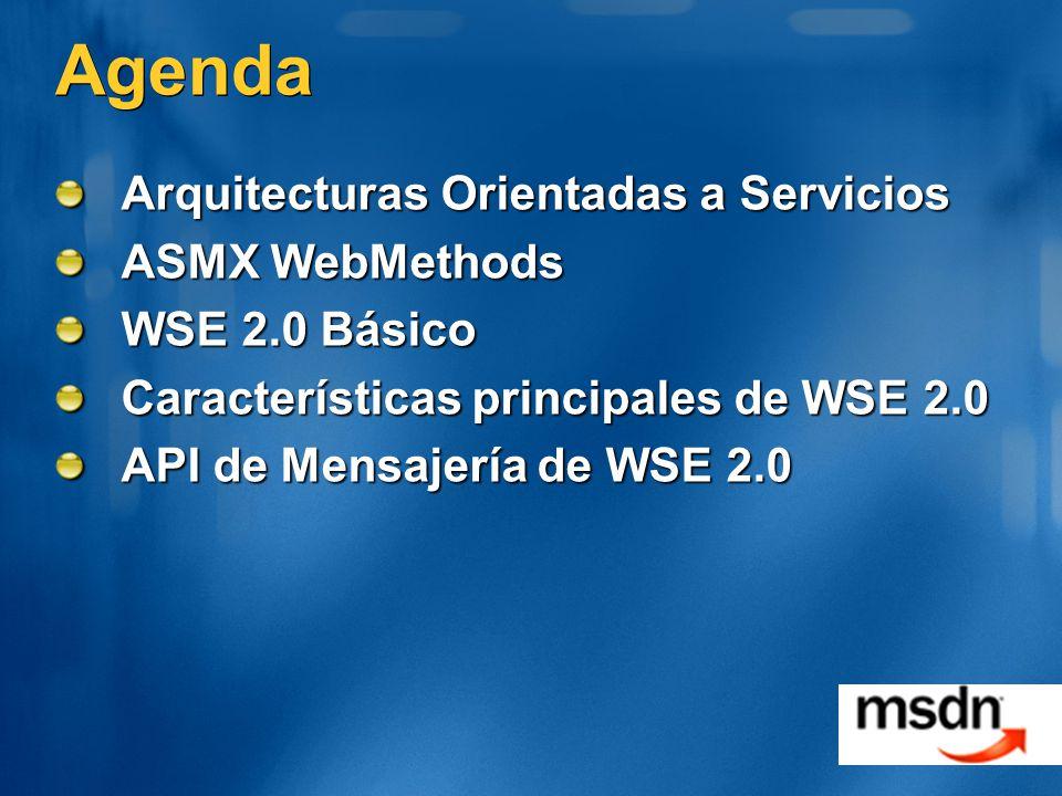 Agenda Arquitecturas Orientadas a Servicios ASMX WebMethods