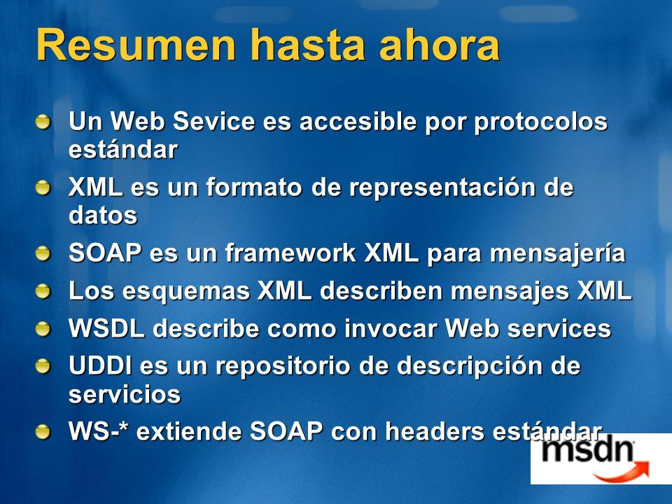 Resumen hasta ahora Un Web Sevice es accesible por protocolos estándar