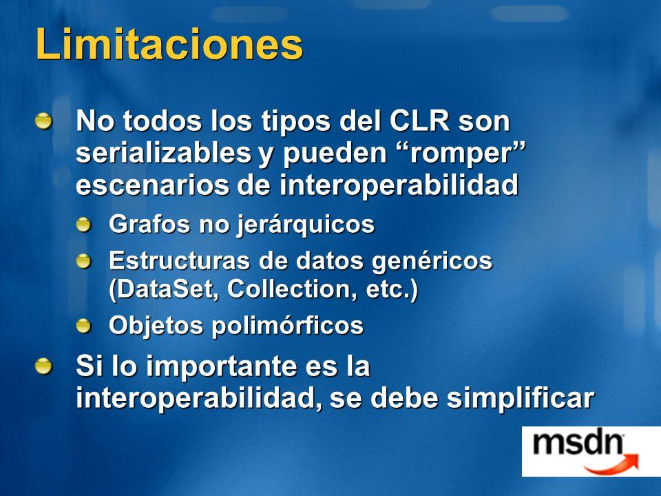 Limitaciones No todos los tipos del CLR son serializables y pueden romper escenarios de interoperabilidad.
