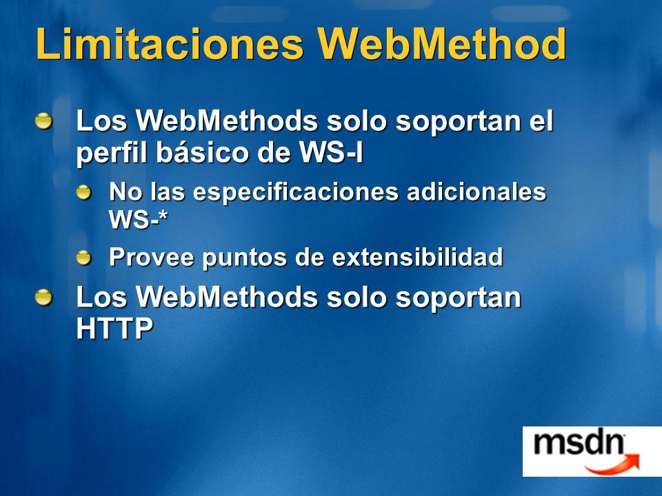 Limitaciones WebMethod