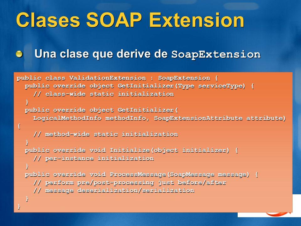 Clases SOAP Extension Una clase que derive de SoapExtension