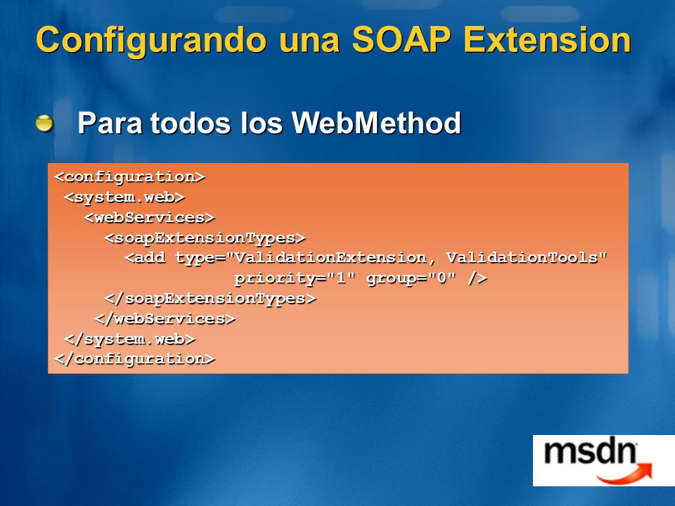 Configurando una SOAP Extension