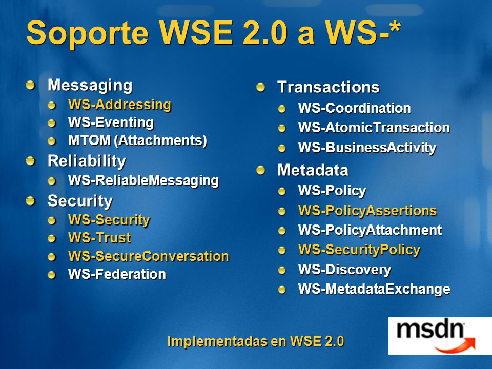 Soporte WSE 2.0 a WS-* Messaging Reliability Security Transactions